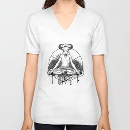 The man with the head of a bull is meditating Unisex V-Neck