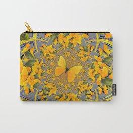 GOLDEN BUTTERFLIES & GREEN FROGS GREY MAMDALA Carry-All Pouch