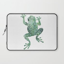 green lichen crawling frog silhouette Laptop Sleeve