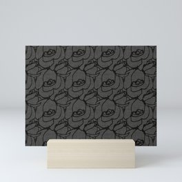 Rose pattern black and grey Mini Art Print