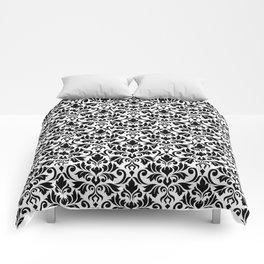 Flourish Damask Big Ptn Black on White Comforters
