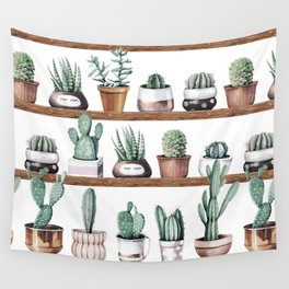 Cactus Shelf Rose Gold Green Wall Tapestry
