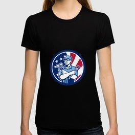 American Air-Con Serviceman USA Flag Icon T-shirt