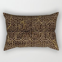 Celtic Wood Pattern with Gold Accents Rectangular Pillow