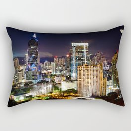 Cityscape at Night with Moon Rectangular Pillow