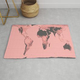 World Map: Gall Peters Pink Rug