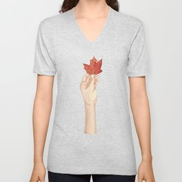 Holding the autumn Unisex V-Neck