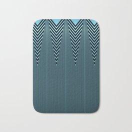 Gleaming Metallic Blue Art Deco Design Bath Mat