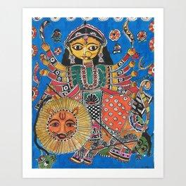 Madhubani - Blue Durga Art Print