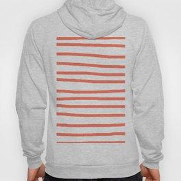 Simply Drawn Stripes in Deep Coral Hoody