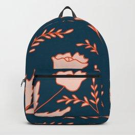 Modern orange pastel blue pink hand painted floral Backpack