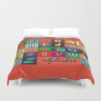 alphabet Duvet Covers featuring Alphabet by rob art | simple