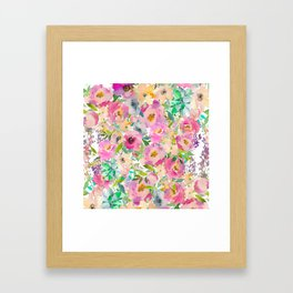 Elegant blush pink lavender green watercolor floral Framed Art Print