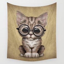 Cute Brown Tabby Kitten Wearing Eye Glasses Wall Tapestry