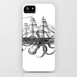 Octopus Attacks Ship on White Background iPhone Case