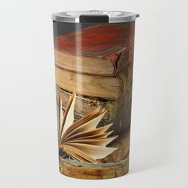 DECORATIVE  ANTIQUE LEDGERS, LIBRARY BOOKS art Travel Mug