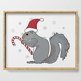Squirrel Wearing Santa Hat and Eating Candy Cane as Snowflakes Fall Serving Tray