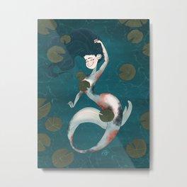 Koi Pond Mermaid Metal Print
