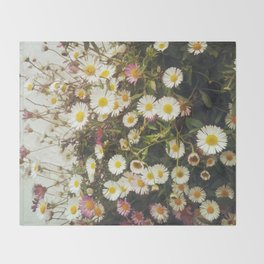 Wall of Daisies Throw Blanket