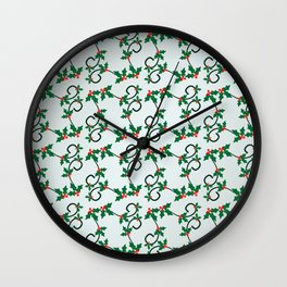 Holly Berries pattern Wall Clock