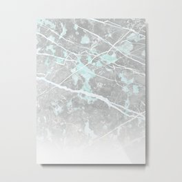 Pastel Teal & Grey Marble - Ombre Metal Print