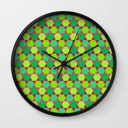 Pattern of Hexagons and Triangles Wall Clock