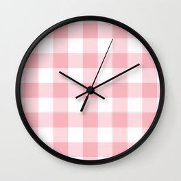 Coral Gingham Pattern Wall Clock