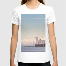 Miramar Castle with Italian Alps in background. Trieste Italy T-shirt