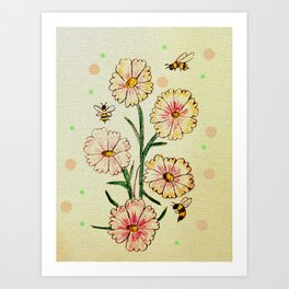 Cosmo Flowers with Bees Art Print