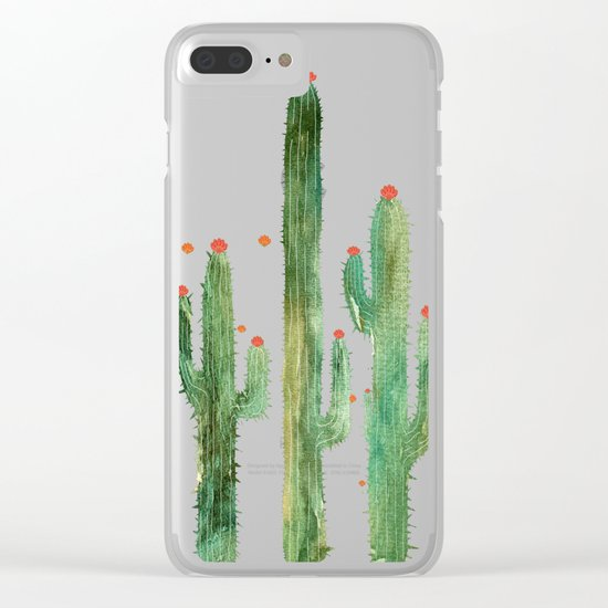 Cactus Four at night Clear iPhone Case