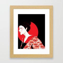 Geisha Girl In Black Framed Art Print
