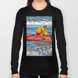 Abstract Surf rescue boat in action Long Sleeve T-shirt