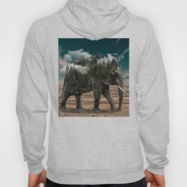 Surrealist elephant on a dry African landscape photo Hoody