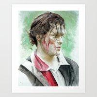 outlander Art Prints featuring James Fraser by Livia Pascu