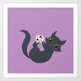 Kitty sugar skull Art Print