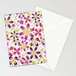 Abstract Art 20 24 Graphic fine art Ornament floral zigzag mixed pink green random Geometry pattern Stationery Cards