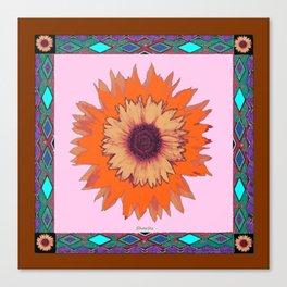 Western Style Chocolate Brown Pink-Orange Sunflower Art Canvas Print