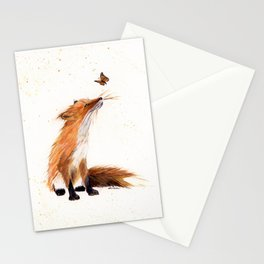 Monarch Fox - animal watercolor painting Stationery Cards