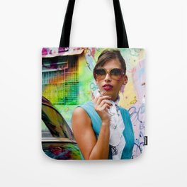 Woman and graffitti Tote Bag