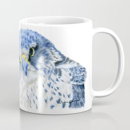 """""""Here's Looking At You"""" painting of a Gyrfalcon by Teresa Thompson Coffee Mug"""