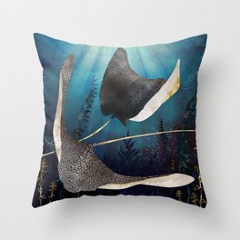 Metallic Stingray Throw Pillow