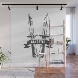 Gangster Rap, Hip Hop and Rock style and more in design fashion modern monochrome style illustration Wall Mural