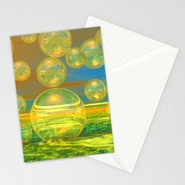 Golden Days, Abstract Yellow and Azure Tranquility Stationery Cards