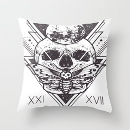 Skull And Triangle Geometric Patterns Throw Pillow