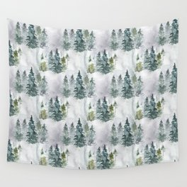 Watercolor forest green snow Christmas pine tree Wall Tapestry