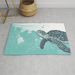 Sea Foam Sea Turtle Rug