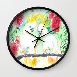 Cockatoos in bottle brush tree Wall Clock