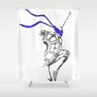ninja Shower Curtains featuring Ninja by Future Emperor