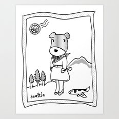 Lolo in Seattle(in her dream) Lolo the dog Art Print