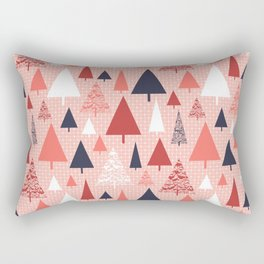 Living Coral snowy Christmas trees pattern Rectangular Pillow
